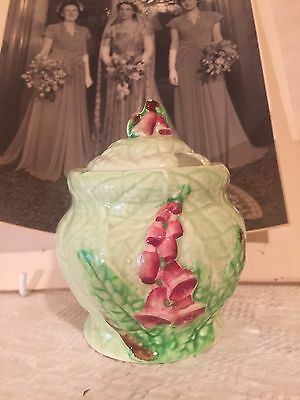 Sweet Antique Vintage Carlton Ware Green Foxglove Sugar Jam Bowl Jar