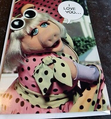 JIM HENSON'S MUPPETS Greeting card MISS PIGGY Used Vintage