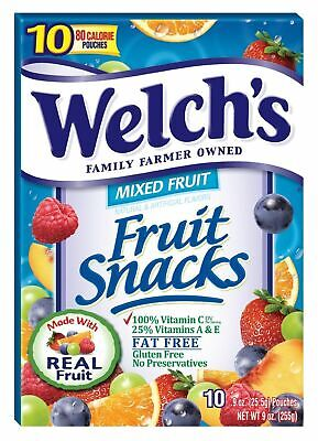 Welch's Mixed Fruit Snacks Fat Free  9 oz (255g) -10 pouches Welchs Snack