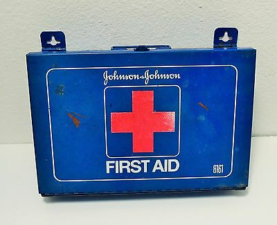 Vintage Original Johnson and Johnson First Aid Kit Blue Metal box #8161 USA made