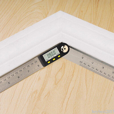 Digital Angle Protractor Goniometer 200mm 8'' Stainless Steel Finder Ruler C110