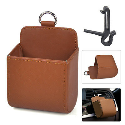 Brown PU Air Vent Outlet Organizer Storage Box Container Mobile Phone Holder
