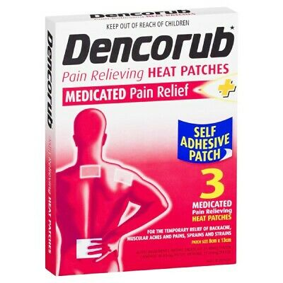 * Dencorub Medicated Pain Relief Self Adhesive Heat Patch 3 Pack For Aches Pains