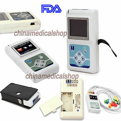 FDA 12-channel ECG/EKG Holter System 24H Recorder Monitor ​Analyzer Software USA