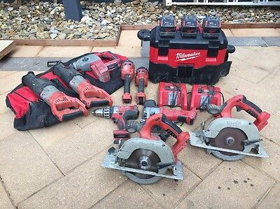 milwaukee V28 Tools And Batteries Total Of 15 Items