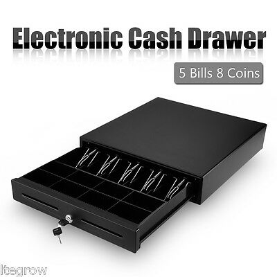 AU STOCK! Heavy Duty Electronic Cash Drawer Cashier POS 5 Bills 8 Coins Tray New