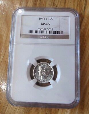 1944-S Mercury Dime - NGC MS65 - Incredible Luster & Bright White!