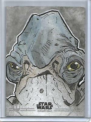 Star Wars Rogue One 2016 Topps Artist Sketch Card #1/1 Bommer Autograph
