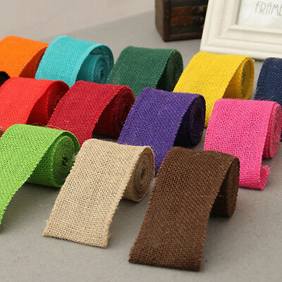 2m Colorful Jute Fabric Burlap Ribbon Roll Hessian Ribbon Trim Tape DIY Wedding