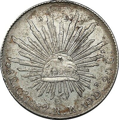 "1887 MEXICO Republic Go RR 8 Reales Silver Coin Fine+ ""CAP AND RAYS"""