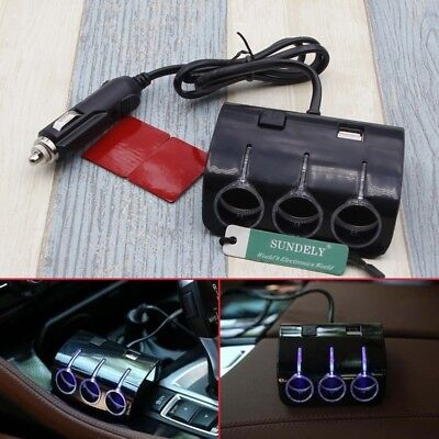 Triple 3 Way Car Cigarette Lighter Adapter Power Socket Splitter Charger Black