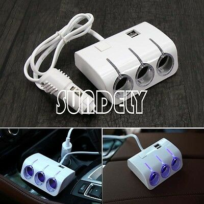 Triple 3 Way Car Cigarette Lighter Adapter Power Socket Splitter Charger White