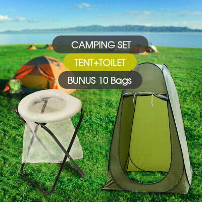 Portable Folding Outdoor Camp Toilet + Large Pop Up Tent Camping Privacy Shelter