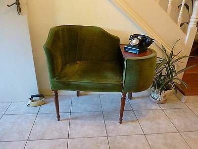 Vintage Art Deco Wooden Telephone Hall Table Stand Seat Chair.