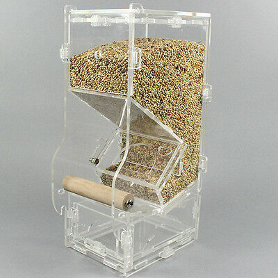 Acrylic Seed No Mess Pet Bird Feeder Parrot Canary Cockatiel Finch Tidy Toys