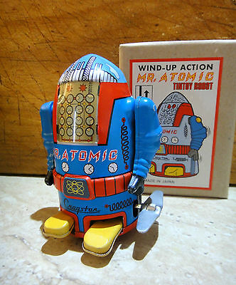 Mr Atomic Japanese TINTOY ROBOT Wind up with U-Turn Action AS NEW IN BOX