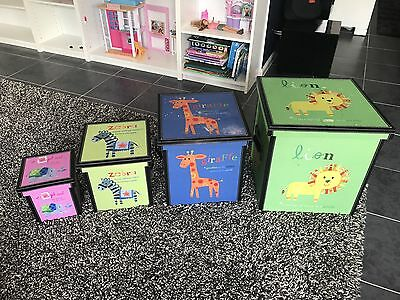 Kids Animal Toy Storage Boxes X 4