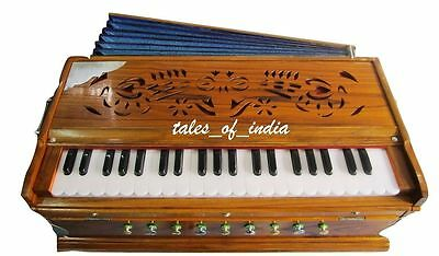 New Indian Harmonium ~9 Stopper~3 1/2 Octave~Teak Wood~7 Fold Bellow~Double Reed