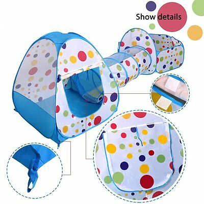 HOT 3 in 1 Kids Toddler Tunnel Pop Up Play Tent Indoor Outdoor Cubby Playhouse