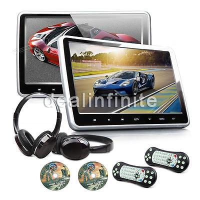 """!!2X HDMI10"""" HD LCD Pillow Back Car Active Headrest Monitor DVD Player Game Disc"""