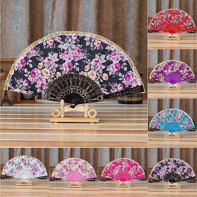 Vintage Roses Folding Hand Fan Gift Chinese Japanese Style Wedding Party Dance