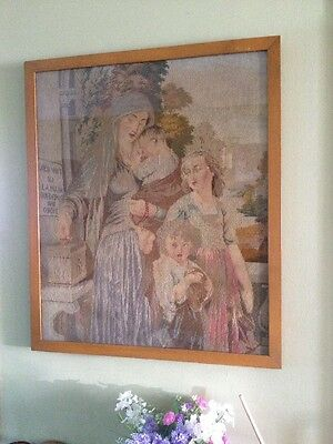 Extra Large Victorian French Woolwork Tapestry Picture 19th Century