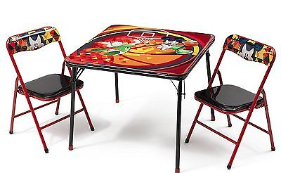 Disney Mickey Mouse Childrens Metal Table & Two Chairs Set Kids Bedroom Playroom