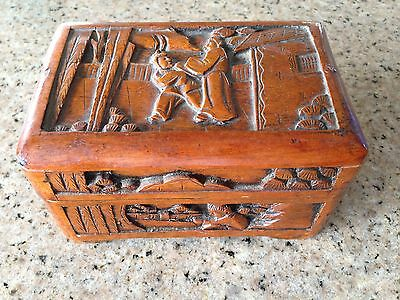 Vintage Wood Carved Japanese Jewellery Box