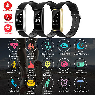 Blood Pressure Oxygen Monitor Heart Rate Sports Wristband Smart Watch Bracelet