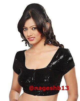 Readymade Saree Blouse, Ready to Wear Black Sequin Sari Blouse, Readymade Blouse