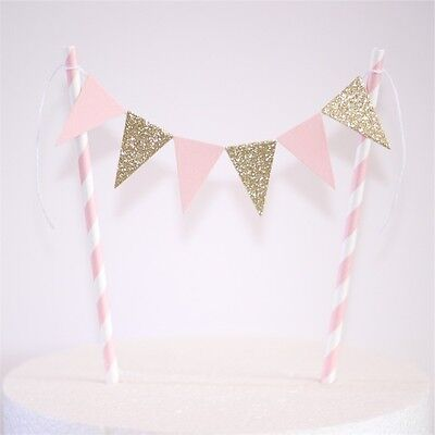 Bunting Cake Topper Pale Pink And Gold Glitter Paper Straws
