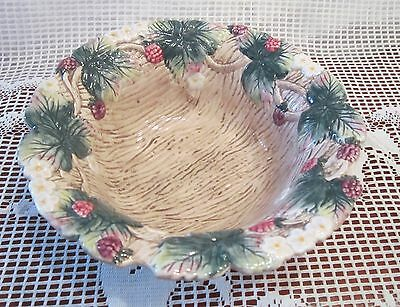 Fitz and Floyd Wild Berries Bowl - Hand Painted - 8.75 inches