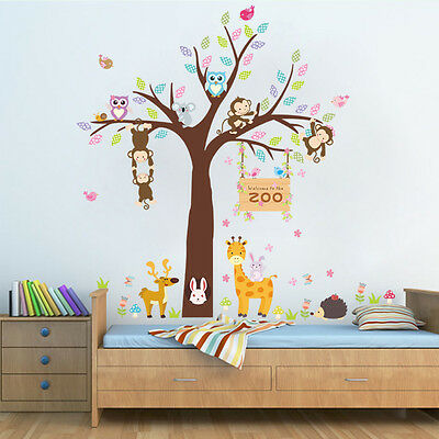 wandtattoo wandsticker zebra wald deko tiere kinderzimmer baum baby fenster xl eur 9 89. Black Bedroom Furniture Sets. Home Design Ideas