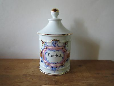 French Limoges Porcelain apothecary pharmacy jar 'Haschisch'