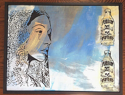 Outsider Folk Art Painting on Wood Framed Antique Vintage Old Poison Bottles 11