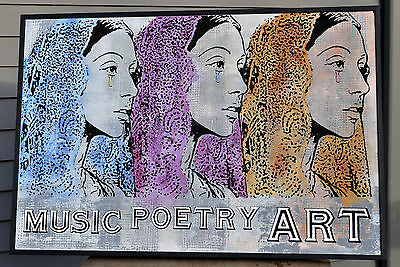 Original Outsider Folk Art Painting  Wood Music Poetry Beauty Love Rob Johnston