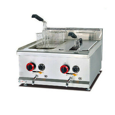 Brand New Twin Tank 14L LPG GAS Fryer For Food Trailer