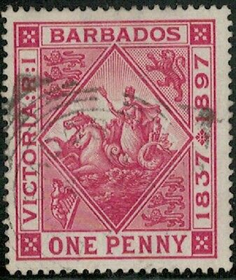 Lot 4027 - Barbados - 1897 - one penny (1d) red Diamond Jubilee used stamp