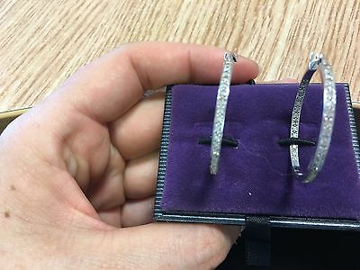14k White Gold And Diamond (in And Out) 3cm Hoop Earrings