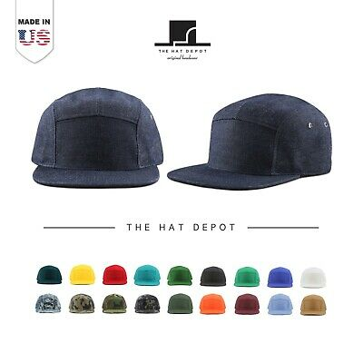 2848e7e3 The Hat Depot [MADE IN USA] 5 Panel Genuine Leather Brass Closure Biker Cap