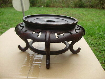 Asian Chinese Carved Wood Footed Stand for Porcelain Vase or Bowl - across 5 1/2