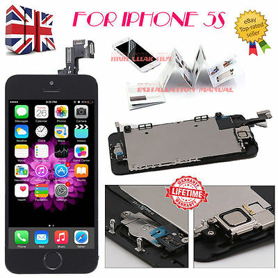 For iPhone 5S Black Touch Screen LCD Digitizer Replacement + Home Button +Camera