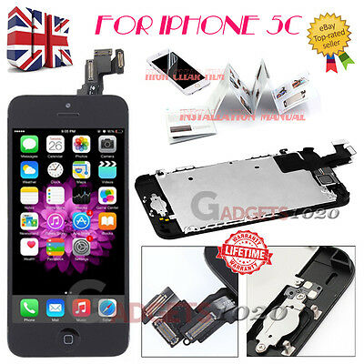 For iPhone 5C Black Touch Screen LCD Digitizer Replacement + Home Button +Camera