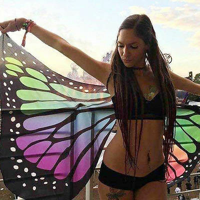 UK Butterfly Wings Shawl Fairy Costume Nymph Pixie Bikini Cover Up Beach Towel