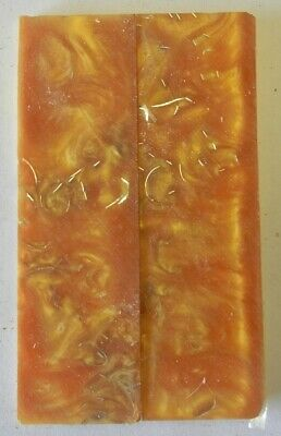 """Alumilite Gold Imbedded with Brass (2 pc) Knife Scales 3/16"""" x 1 1/2"""" x 5 - 7806"""