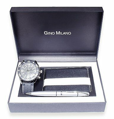 Mens Watch with Matching Wallet & Pen Gift Set - Grey