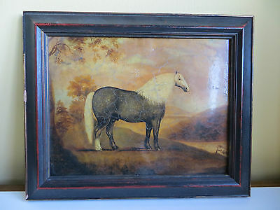 Repro Antique Georgian Style Faux Oil Painting Picture Horse Print Wall Hanging