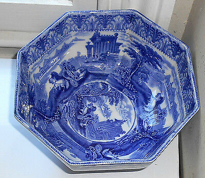 "CAULDON TRIUMPHAL CARIOT BLUE & WHITE LARGE SERVING BOWL 7.25"" c.1910"