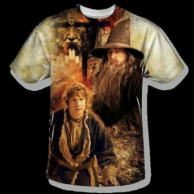 The Hobbit Bilbo and Gandalf Sublimation Front Print T-Shirt Size XXL, UNWORN