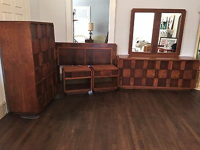 Vintage Lane Brutalist Cubist Bedroom Set -Dresser Headboard Chest Nightstands